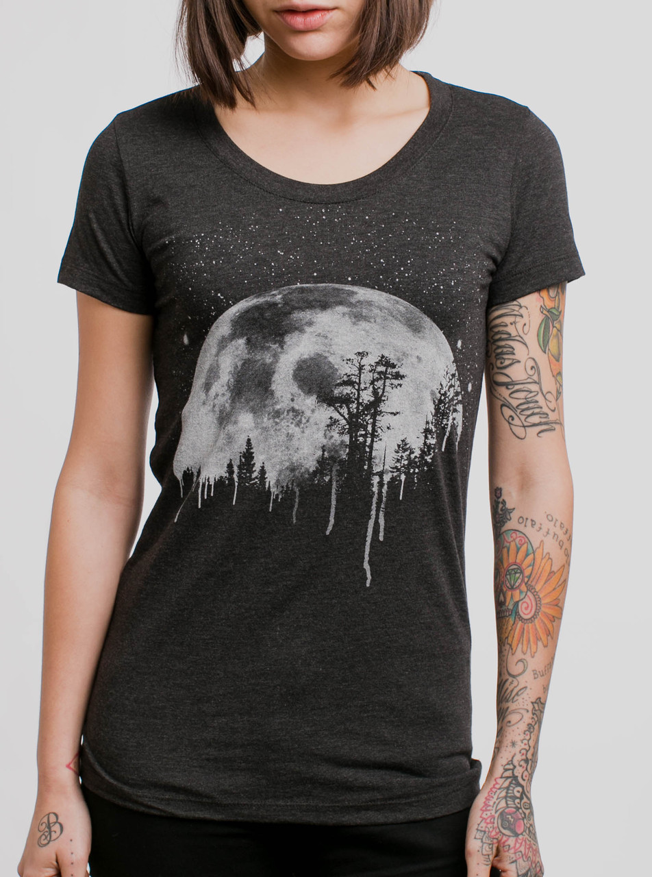 Moon White On Heather Black Triblend Womens T Shirt
