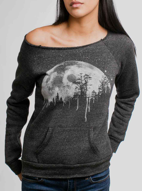 Moon - White on Charcoal Women's Maniac Sweatshirt