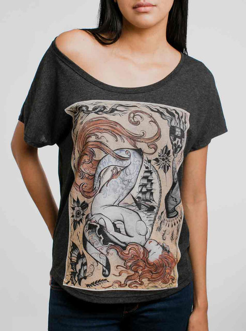 Siren - Multicolor on Heather Black Triblend Womens Dolman T Shirt