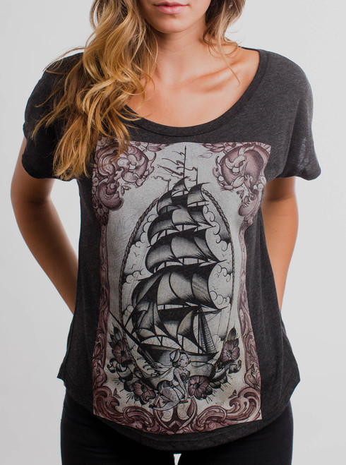 Clipper Ship - Multicolor on Heather Black Triblend Womens Dolman T Shirt