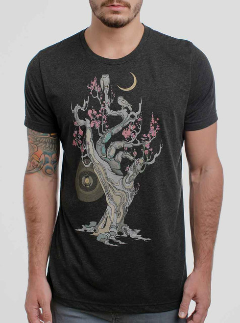 Night Owls - Multicolor on Heather Black Triblend Mens T Shirt