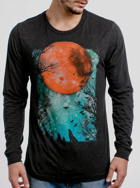 Blood Moon - Multicolor on Heather Black Triblend Men's Long Sleeve