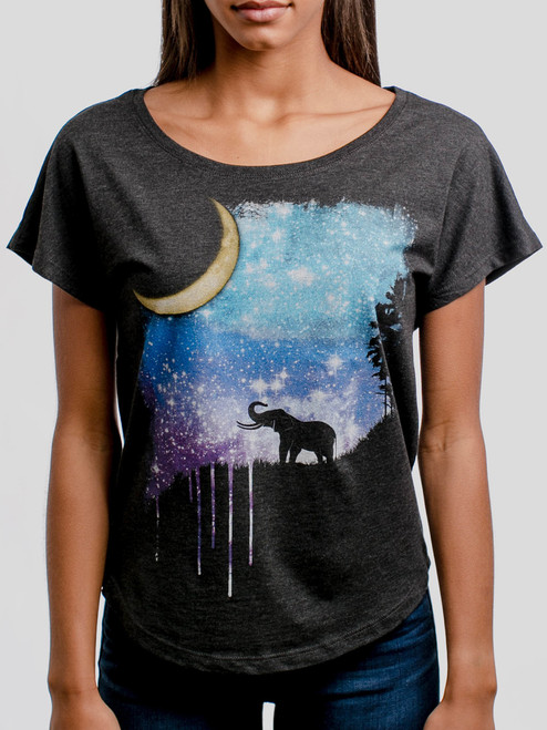 Elephant Moon - Multicolor on Heather Black Triblend Womens Dolman T Shirt