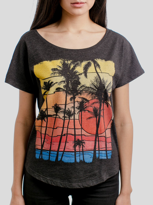 The Beach - Multicolor on Heather Black Triblend Womens Dolman T Shirt