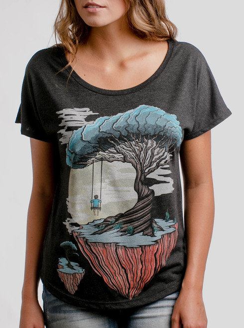 Drifting - Multicolor on Heather Black Triblend Womens Dolman T Shirt