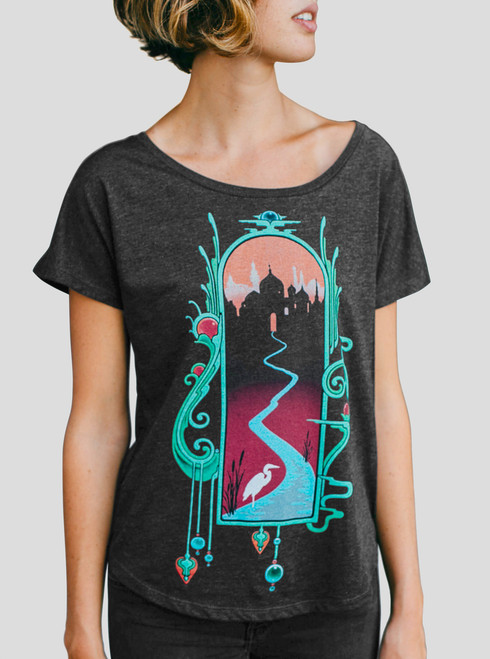 Watercourse - Multicolor on Heather Black Triblend Womens Dolman T Shirt
