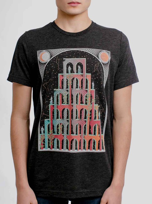 Mystic Castle - Multicolor on Heather Black Triblend Mens T Shirt