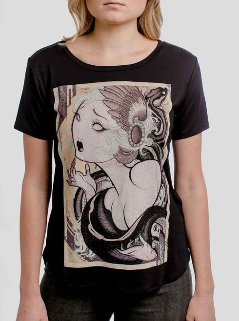 Lady and the Snake - Multicolor on Black Womens Boyfriend T-Shirt