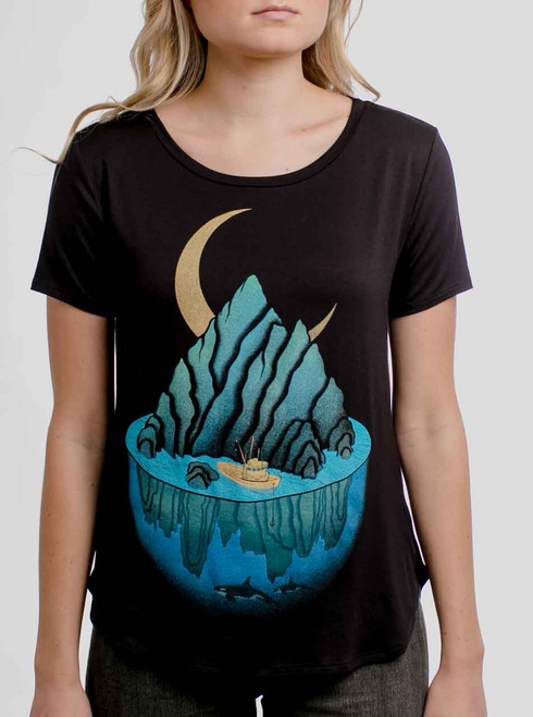 Lost at Sea - Multicolor on Black Womens Boyfriend T-Shirt