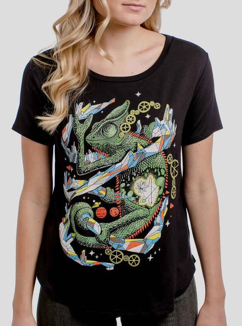 Chameleon - Multicolor on Black Womens Boyfriend T-Shirt