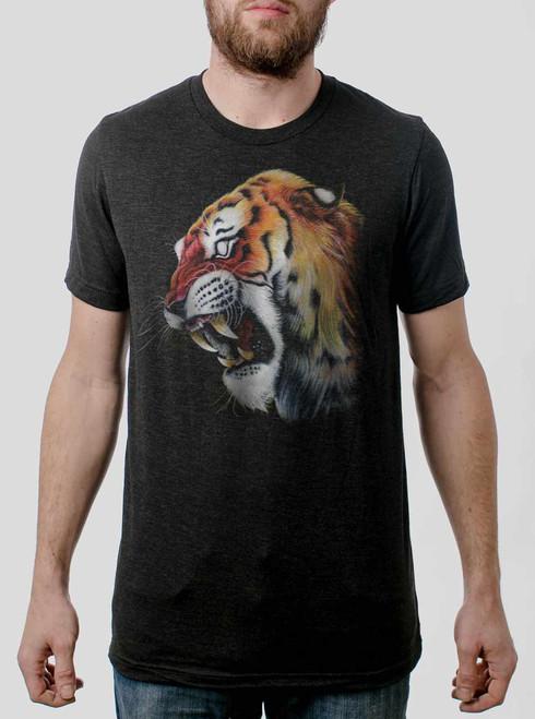 Tiger's Head - Multicolor on Heather Black Triblend Mens T Shirt