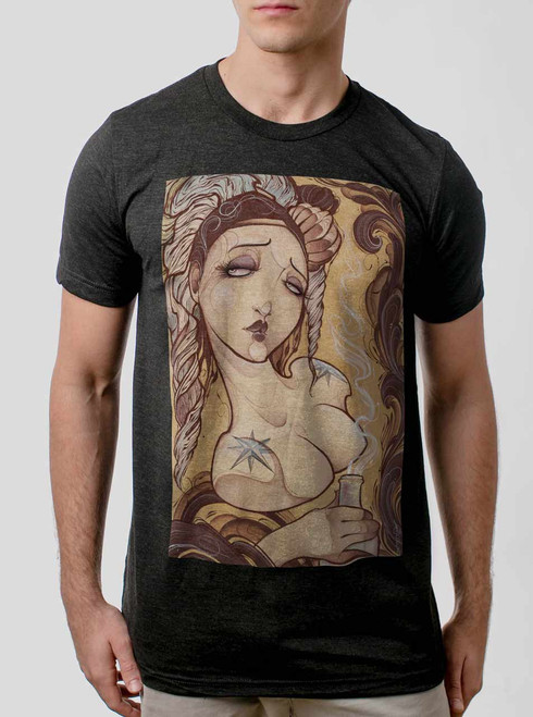 Lady with the Bottle - Multicolor on Heather Black Triblend Mens T Shirt