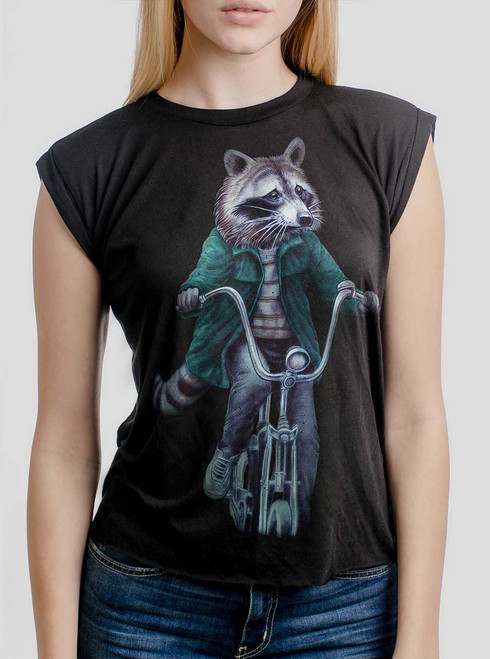 Raccoon - Multicolor on Black Women's Rolled Cuff T-Shirt