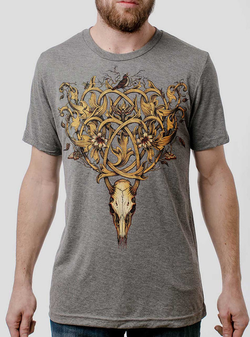Deer Skull - Multicolor on Heather Grey Triblend Mens T Shirt