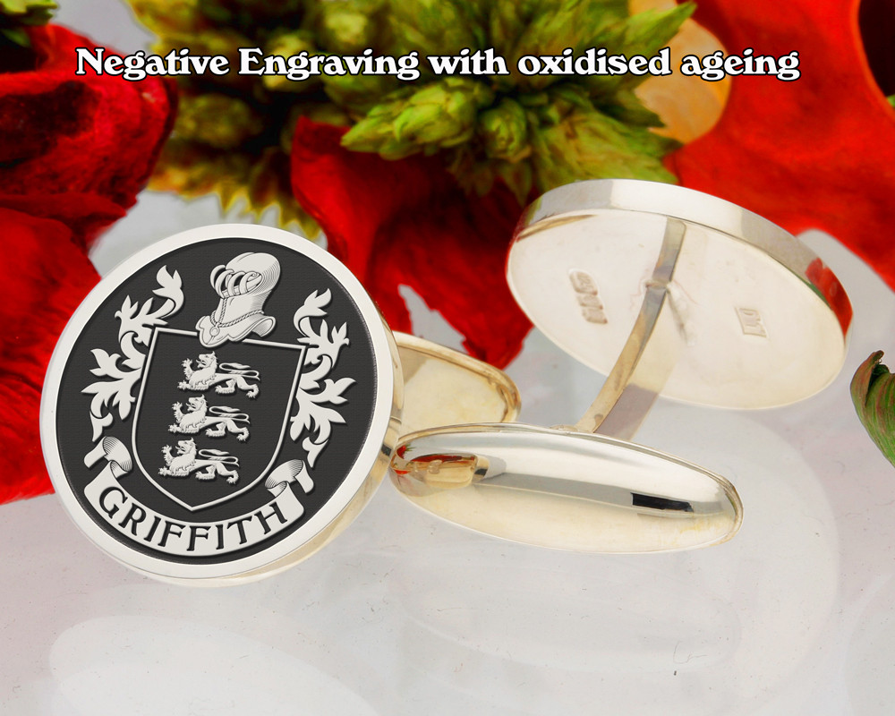 Griffith Family Crest Cufflinks Negative