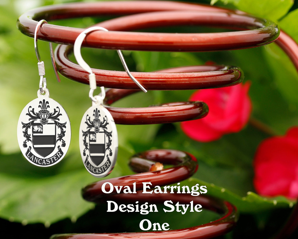 Family Crest Earrings Oval - Style 1