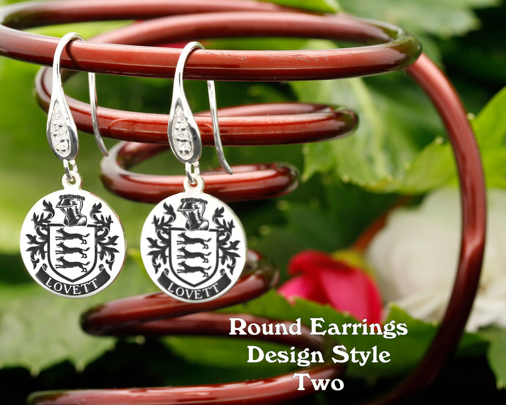 Family Crest Earrings Round - Style 2