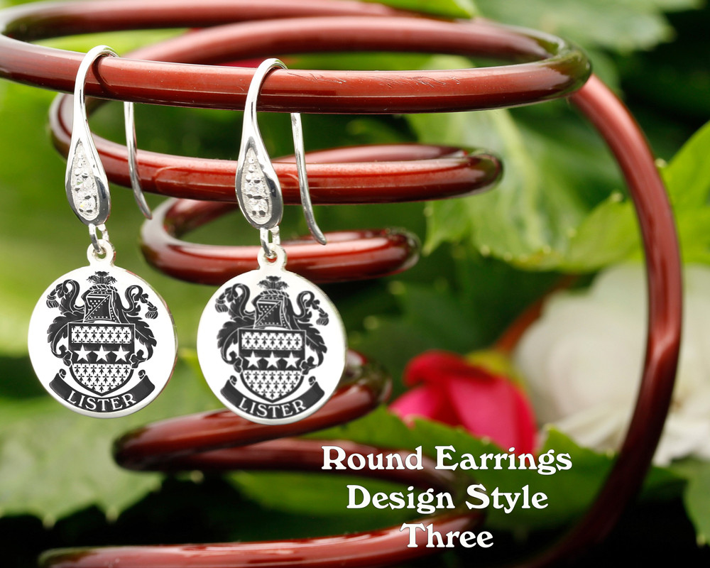 Family Crest Earrings Round - Style 3