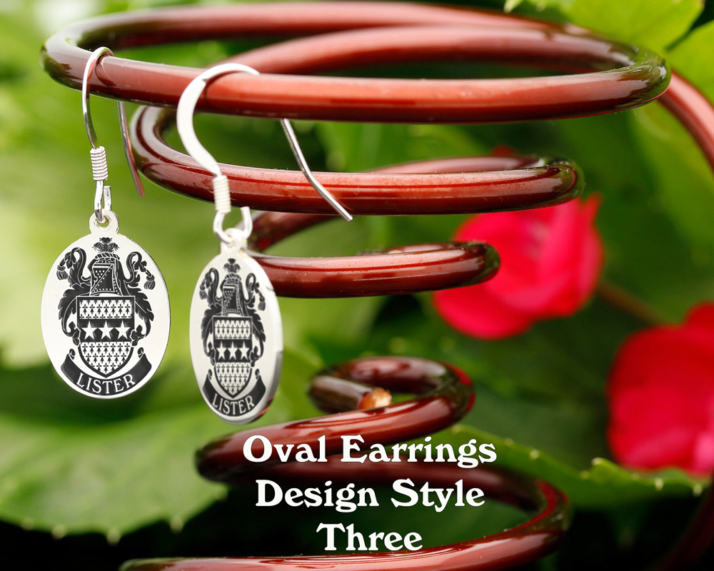 Family Crest Earrings Oval - Style 3