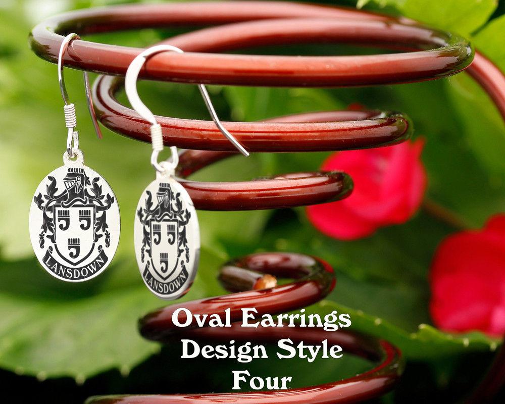 Family Crest Earrings Oval - Style 4