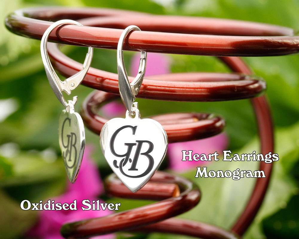 Heart Personalised Monogram Silver Earrings Oxidised