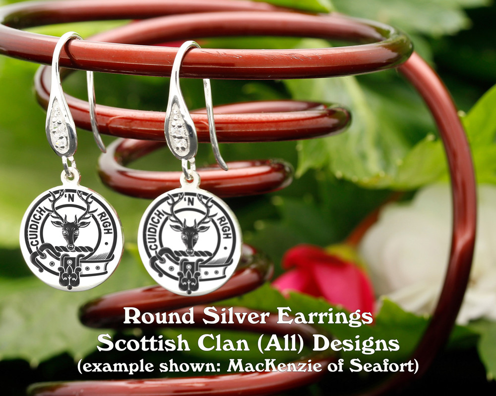 Scottish Clan Round Silver Earrings