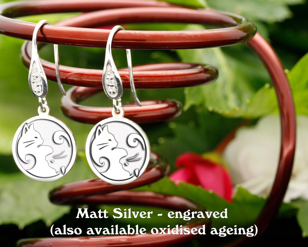 Yin n Yang Cats design sterling silver earrings - engraved matt silver