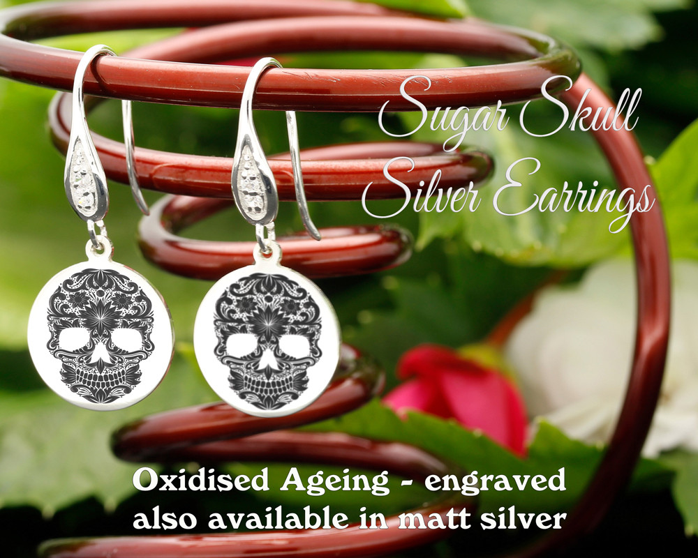 Sugar Skull design sterling silver earrings - engraved oxidised