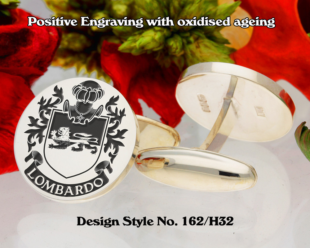 Lombardo (Italy) 2 Family Crest Cufflinks Positive Engraving
