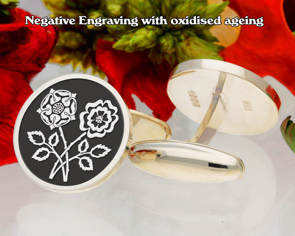 Double English Rose Cufflinks D1 Negative Engraving
