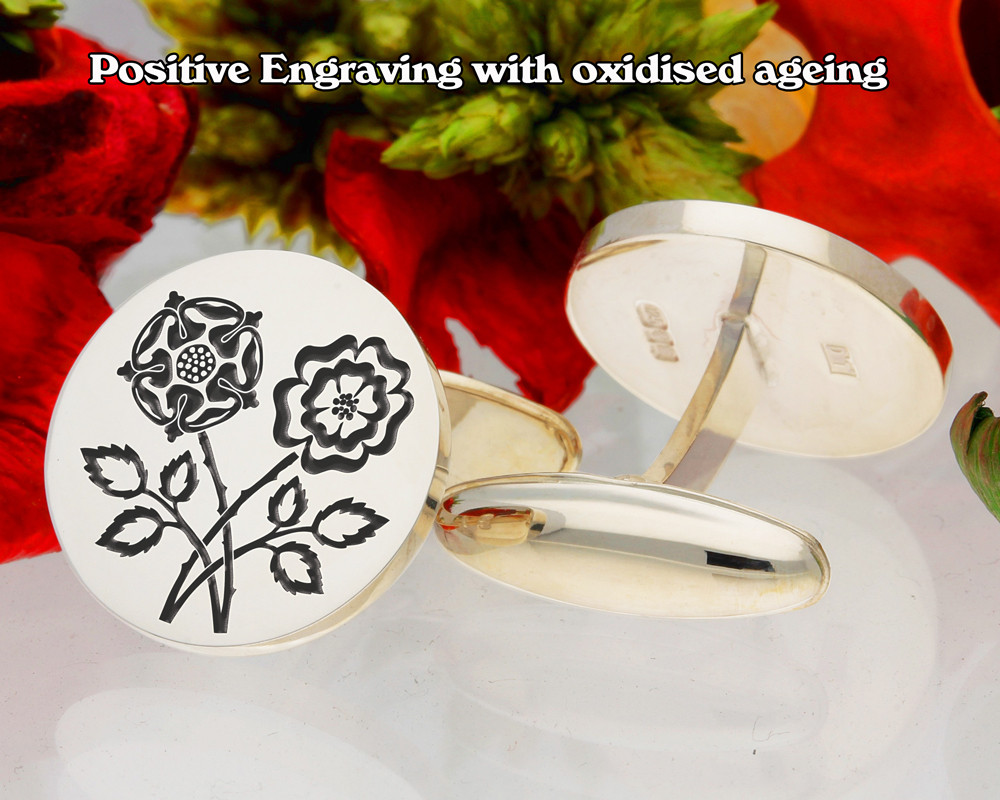 Double English Rose Cufflinks D1 Positive Engraving