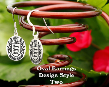 Family Crest Earrings Oval - Style 2