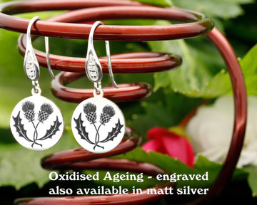 Scottish Entwined Thistle design sterling silver earrings - engraved oxidised