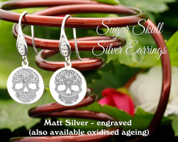 Sugar Skull design sterling silver earrings - engraved matt silver