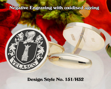 Velasco Family Crest Silver Cufflinks D151/H32 Negative