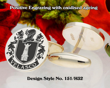 Velasco Family Crest Silver Cufflinks D151/H32 Positive