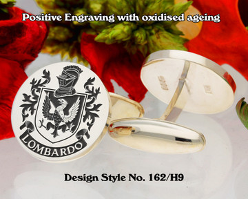 Lombardo (Italy) 1 Family Crest Cufflinks Positive Engraving
