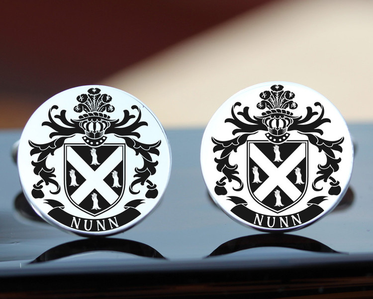 Nunn Mens family crest silver cufflinks design laser engraved with oxidised ageing