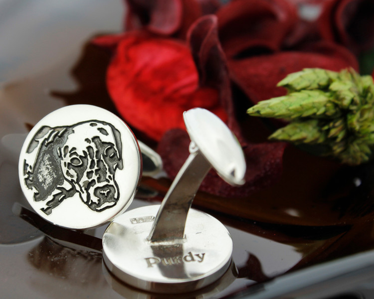 Example - Custom engraved silver cufflinks, in Memory of  ' Purdy',