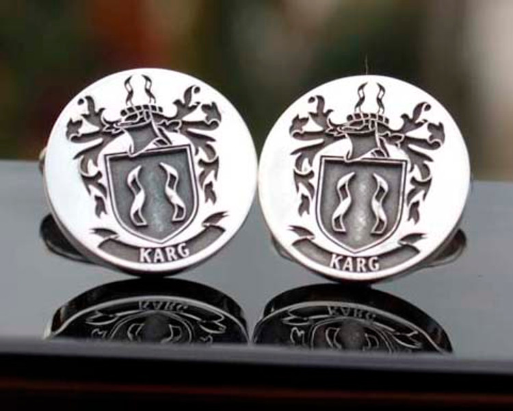 Karg Family Crest Silver Mens Engraved Cufflinks with oxidised ageing