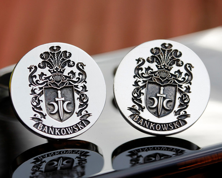Bankowski  Family Crest Mens Silver Cufflinks, laser engraved, oxidised ageing Design 7
