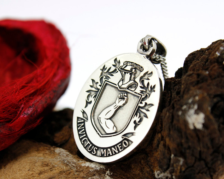 ARMSTRONG Engraved Pendant design, also available in Silver Cufflinks, other designs also available, full customised.
