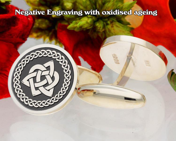 Celtic Trinity Triquetra Cufflinks oxidised negative