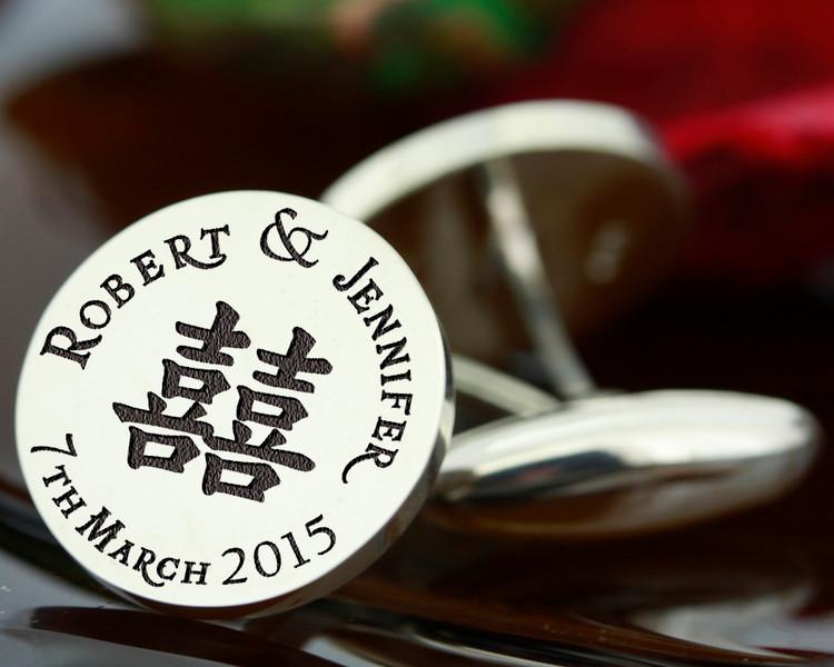 Cufflinks DOUBLE HAPPINESS wedding bespoke personalised laser engraved