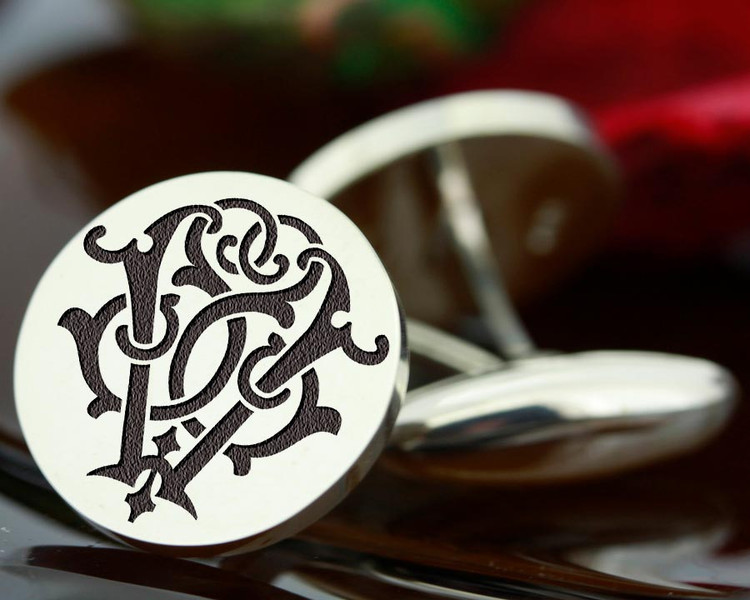 Victorian Monogram SV VS Silver Mens Cufflinks