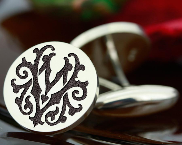 Victorian Monogram Silver Mens Cufflinks - MV VM - oxidised ageing recommended