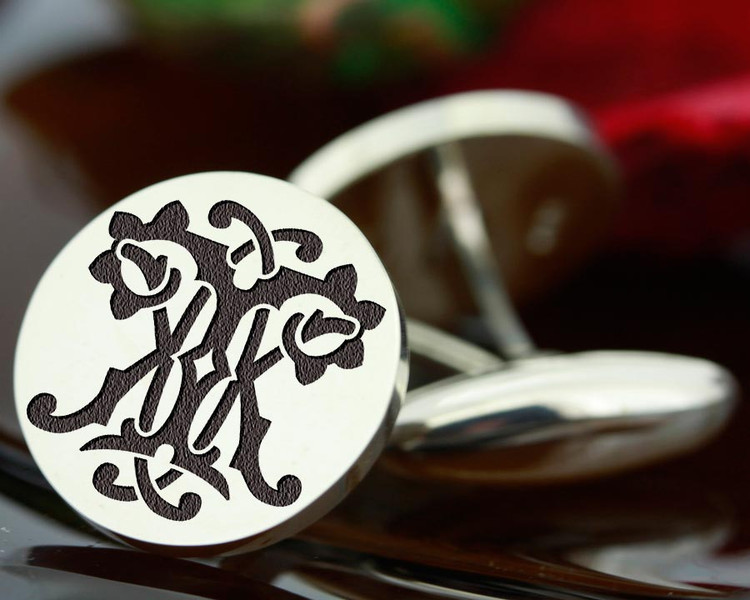 Victorian Monogram Silver Mens Cufflinks - KT TK - oxidised ageing recommended