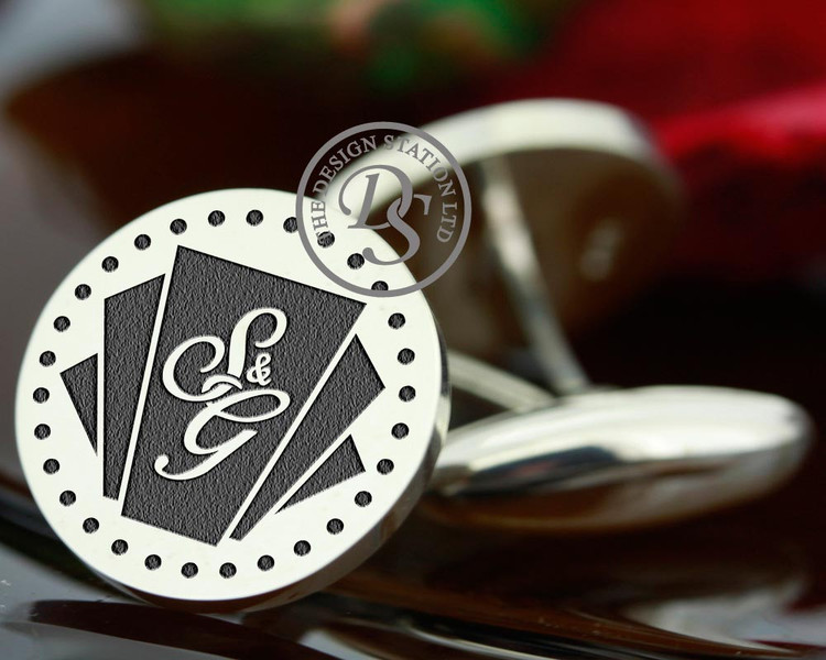 Cufflinks ART DECO Design Bespoke Monogram Silver Cufflinks,  available with or without monogram