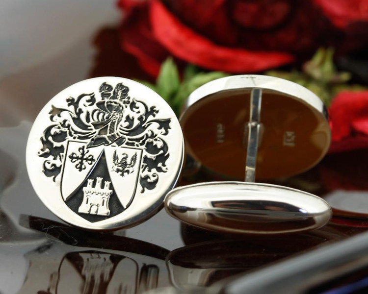 Arias Family Crest Mens Silver Cufflinks, laser engraved, bespoke design, oxydised ageing. Design 71