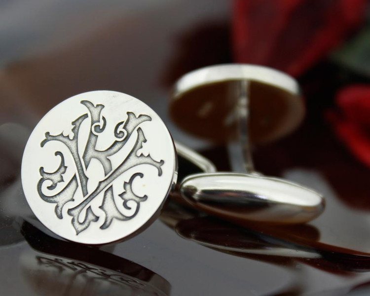 Victorian Monogram Silver Mens Cufflinks - KV VK - oxidised ageing recommended